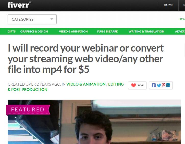 Fiverr Record a webinar